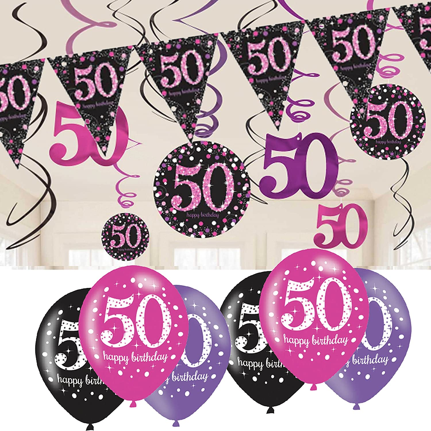 50th Birthday Decorations Pink Bunting Balloons Hanging