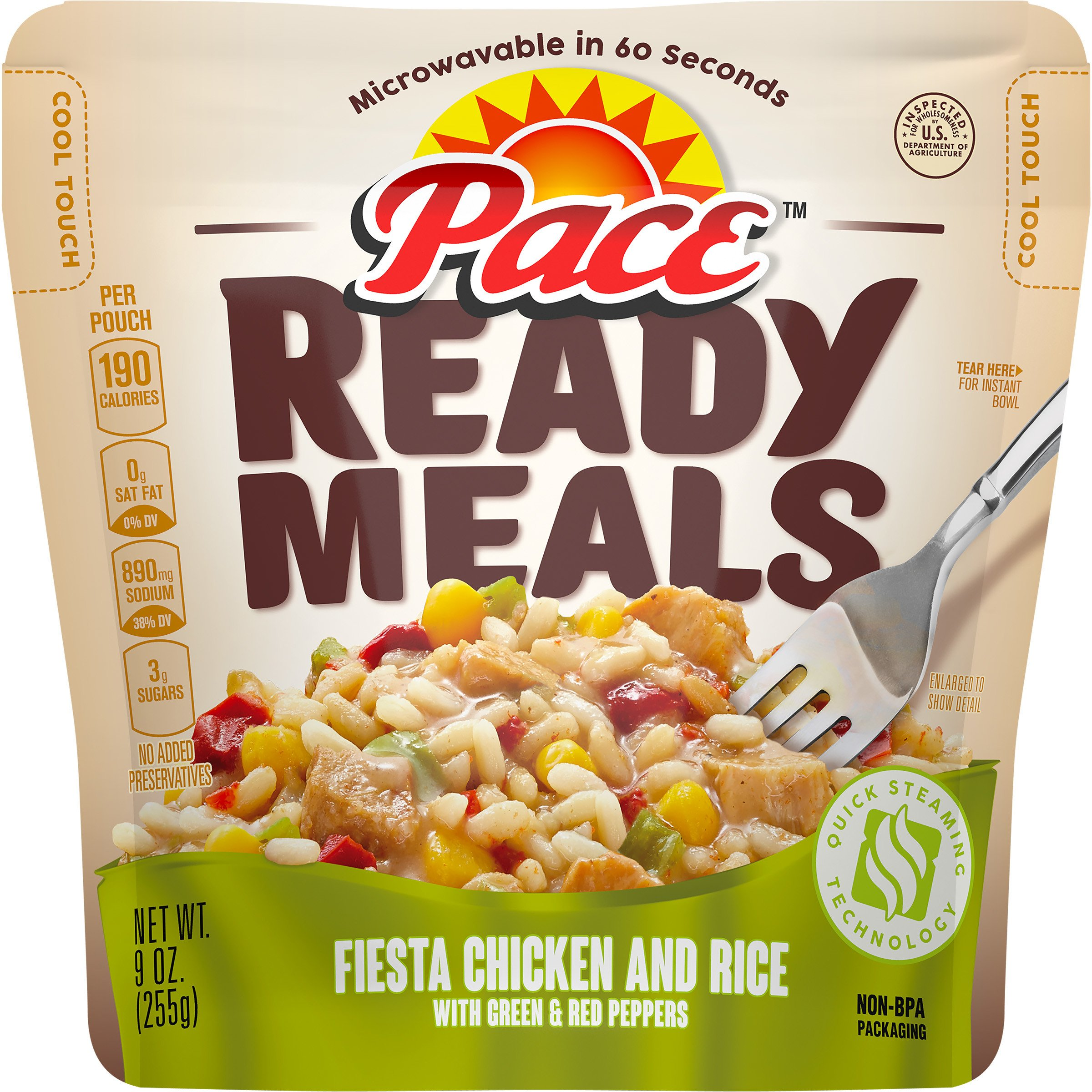 Pace Ready Meals, Fiesta Chicken and Rice with Green & Red Peppers, 9 Ounce (Pack of 6) by Pace