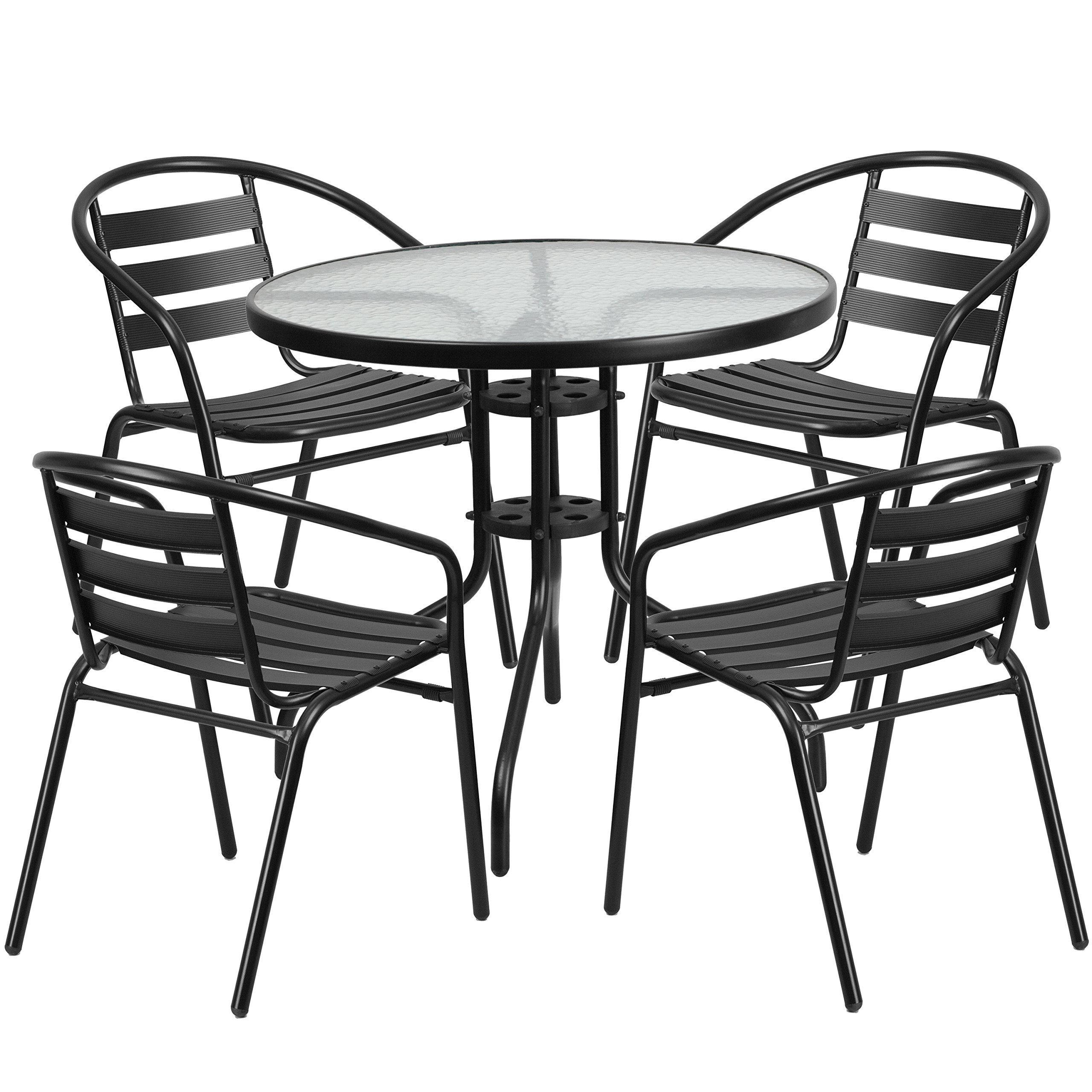 Flash Furniture 31.5'' Round Glass Metal Table with 4 Black Metal Aluminum Slat Stack Chairs by Flash Furniture