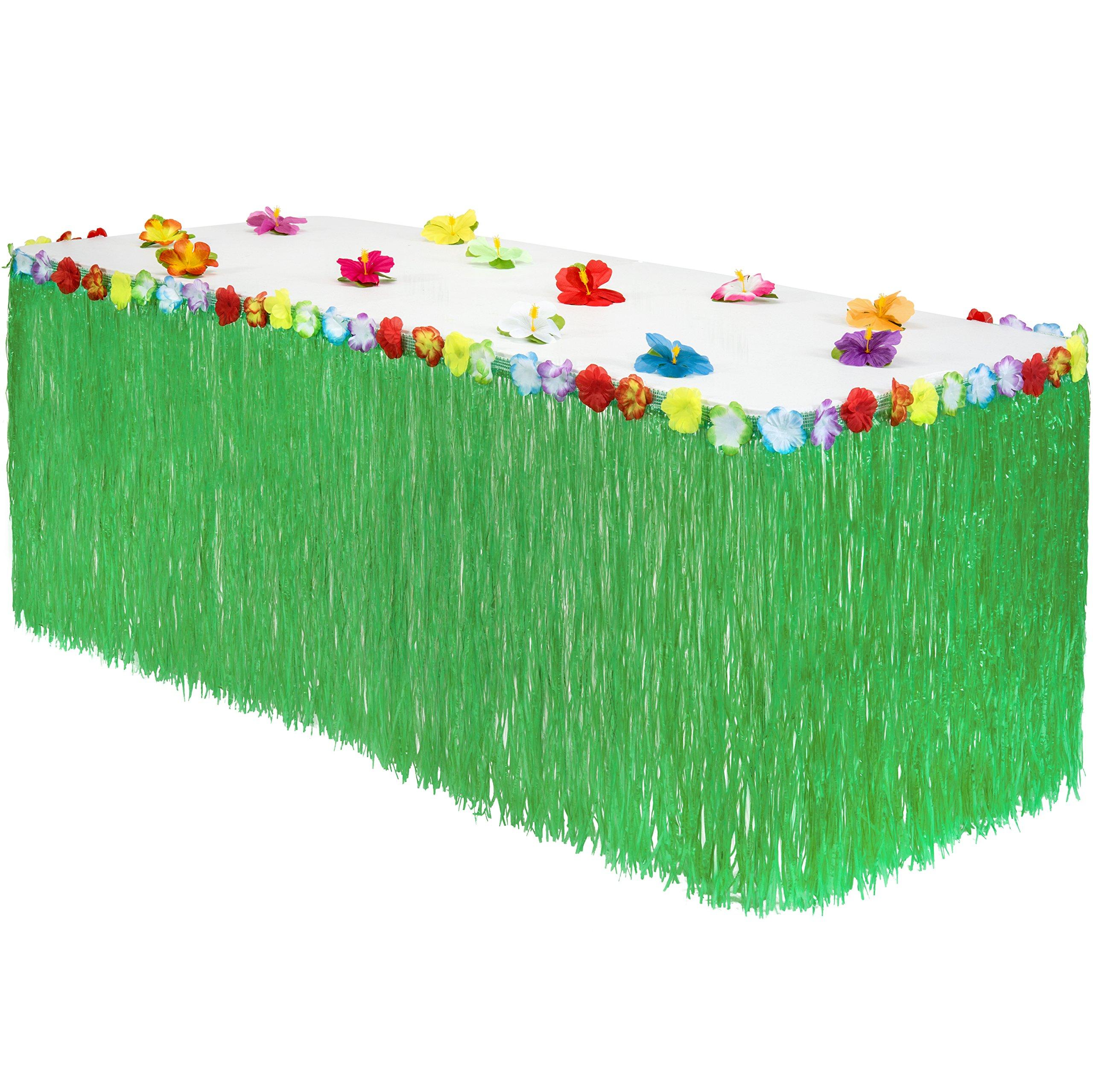 Hawaiian Luau Grass Table Skirt: BONUS 12 Hibiscus Flowers | Includes Adhesive | Perfect Beach, Tiki, Tropical, Island, Party, Luau Decoration 9ft