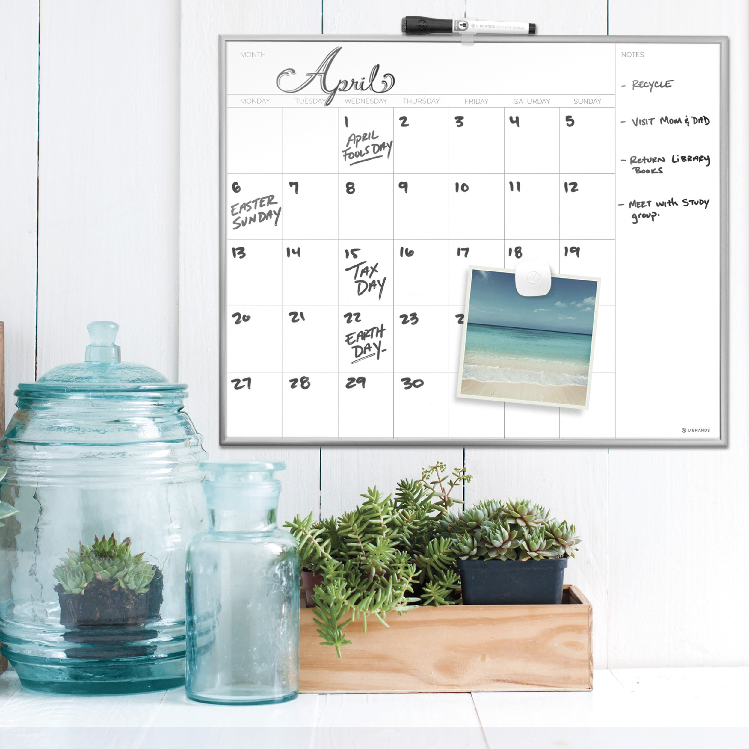 U Brands Magnetic Monthly Calendar Dry Erase Board, 20 x 16 Inches, Silver Aluminum Frame by U Brands (Image #3)