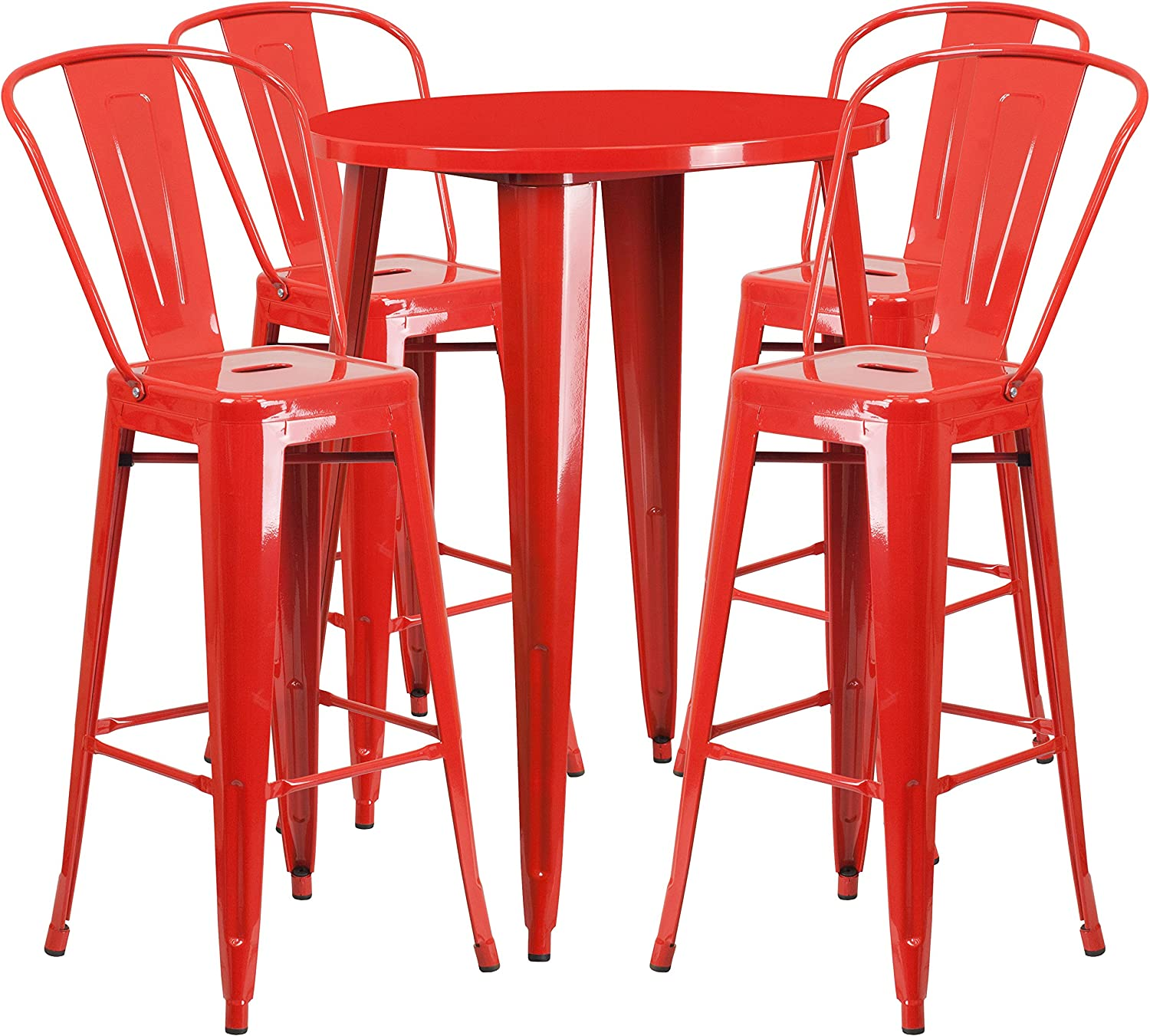 Flash Furniture 30'' Round Red Metal Indoor-Outdoor Bar Table Set with 4 Cafe Stools