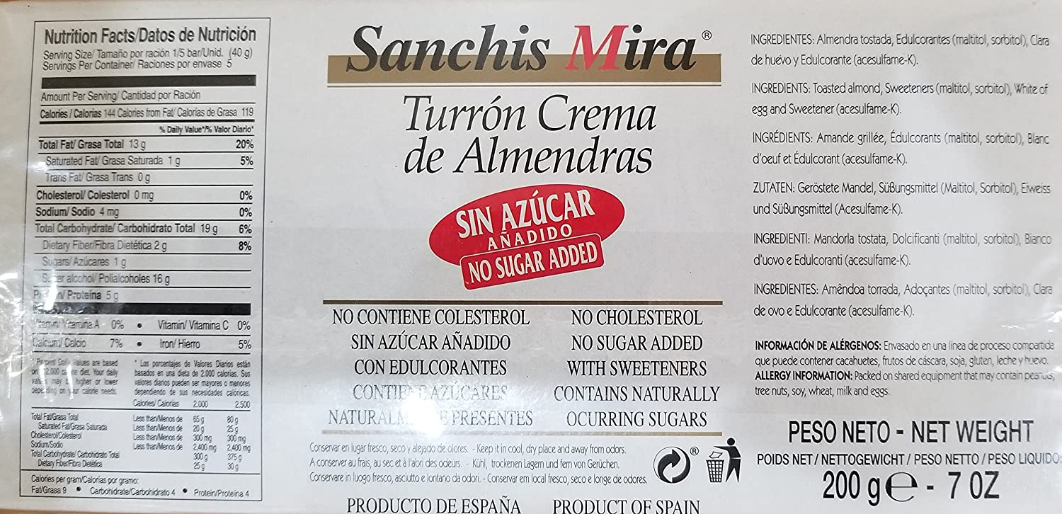 Amazon.com : Sanchis Mira Turron Crema de Almendras Soft Nougat 7oz - No Sugar Added (Sin Azúcar Añadido) : Grocery & Gourmet Food