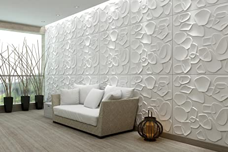 Eco Friendly 3D Decorative Wall Panels 1M DUCKWEED (Bamboo Fiber) 6 Tiles /
