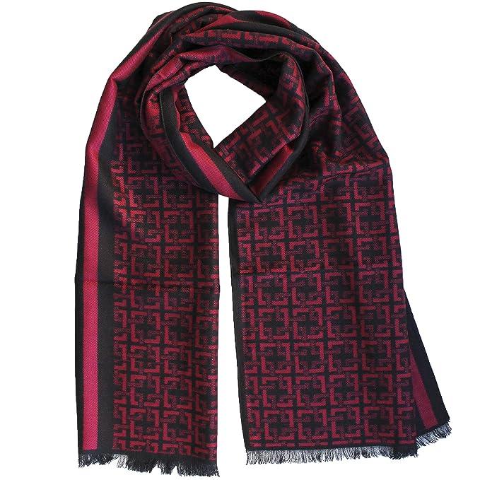 FERETI Echarpe Homme Soie Rouge Noir A Large Rayures Et Tartan Abstract Carreaux  Foulard Automne Hiver  Amazon.fr  Vêtements et accessoires 96eb3e0498f