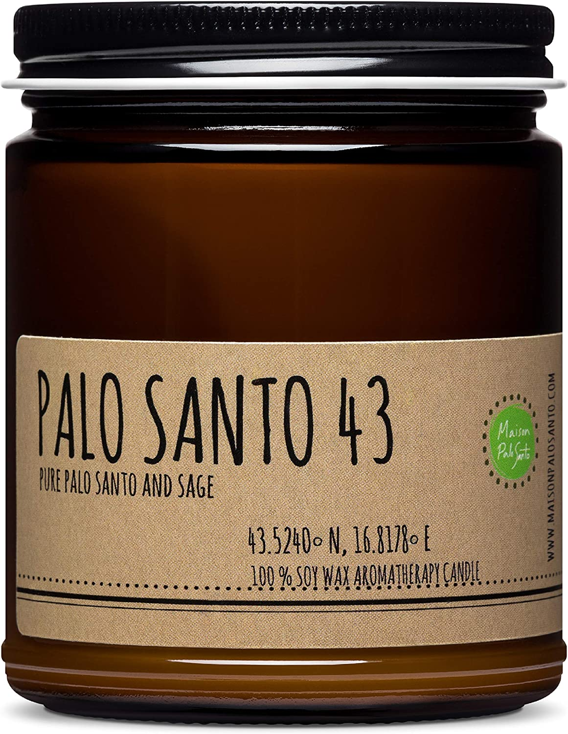 Maison Palo Santo Soy Wax Candle - Palo Santo and Sage Natural Scented Candle for Aromatherapy, Negative Energy Cleansing, Chakra Balancing and Meditation, 9 oz