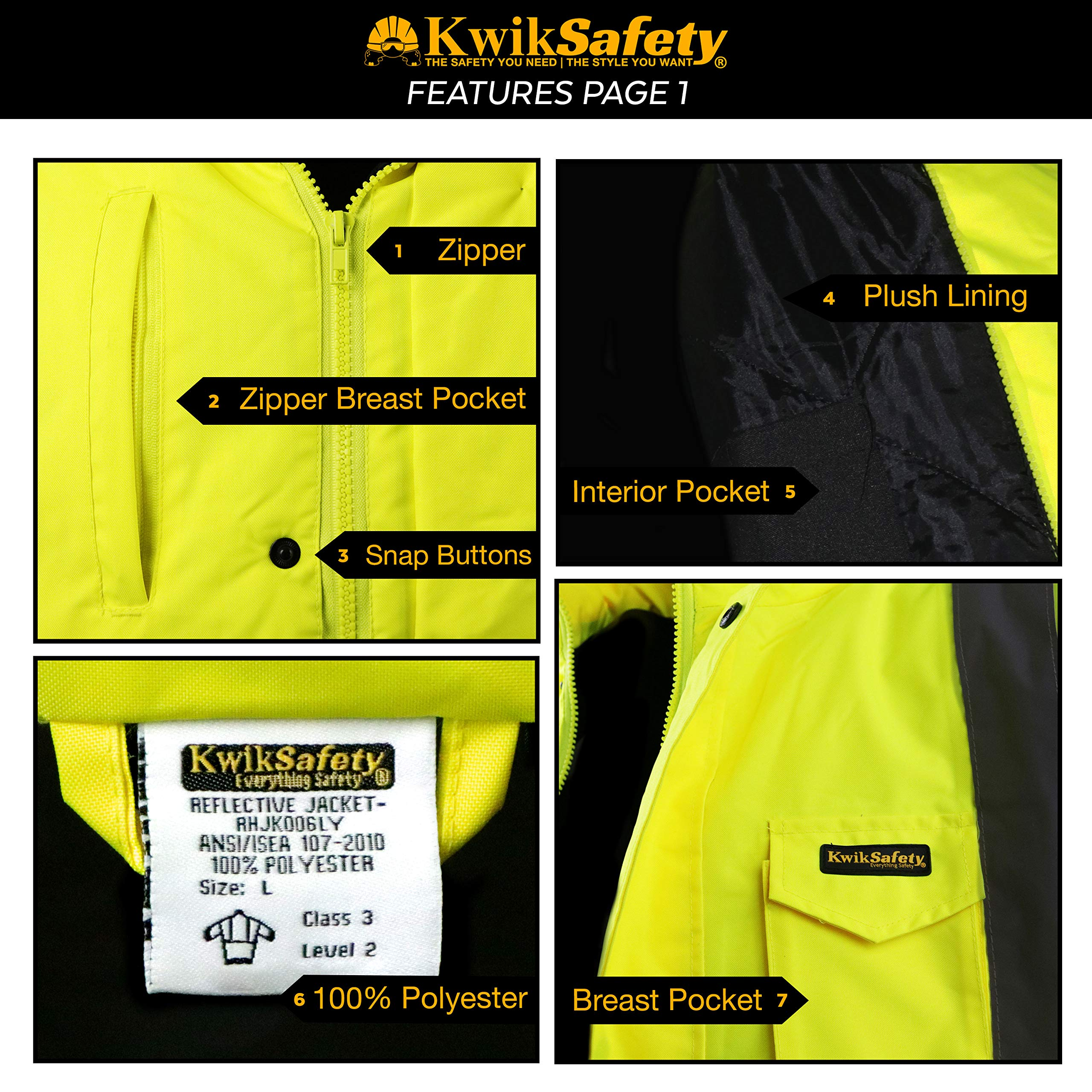 KwikSafety (Charlotte, NC) GUARD   Class 3 Black Cuff Safety Bomber Jacket   High Visibility ANSI OSHA PPE   Foldable Hood Reflective Winter Water Resistant Construction Workwear Men   X-Large by KwikSafety (Image #4)