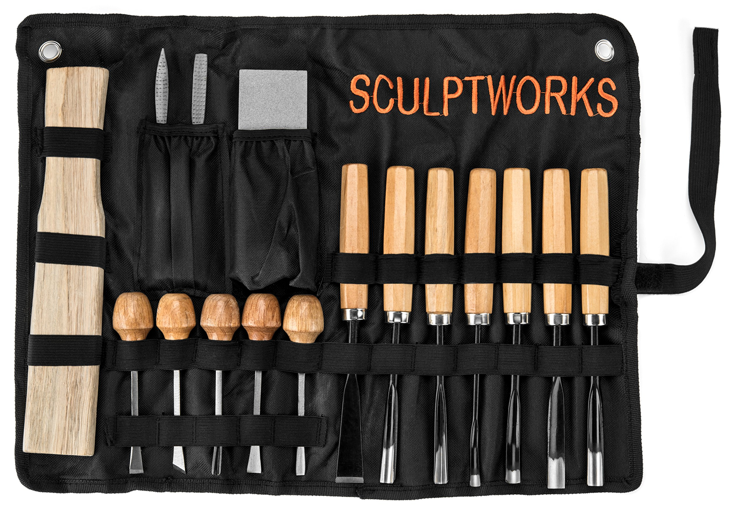 Wood Carving Chisel Tool Set 16 Piece from SculptWorks is designed for the Woodsculpting Novice, includes Carving File, Wood Mallet & Sharpening stone & very helpful Wood Sculpting Informational Flyer