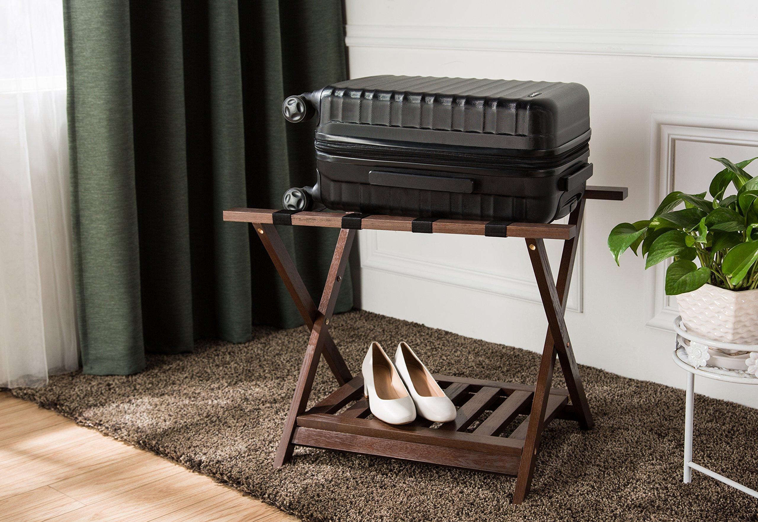 AmazonBasics Luggage Rack with Shelf - Espresso by AmazonBasics (Image #4)