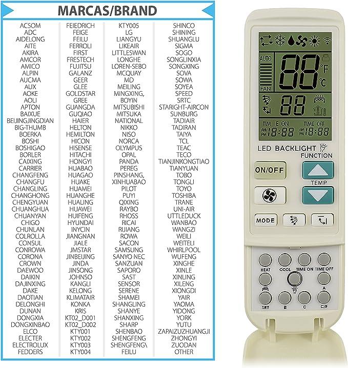 TM Electron TMURC200 Mando A Distancia Universal de Aire Acondicionado, Plástico: Amazon.es: Hogar