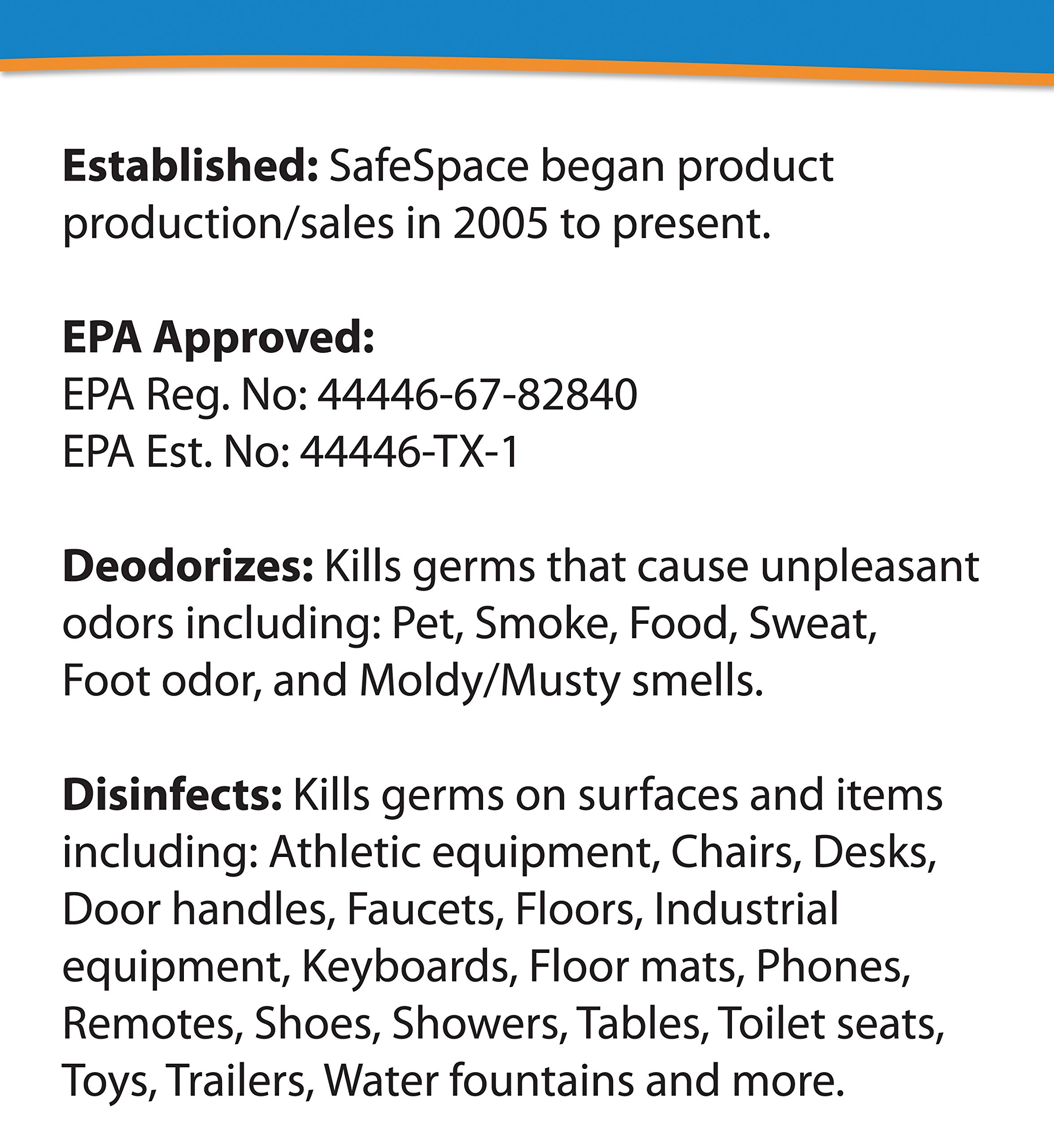 SafeSpace Disinfectant & Deodorizing Germ Fogger - Case of 12 Cans (Clean Scent) by SafeSpace (Image #2)