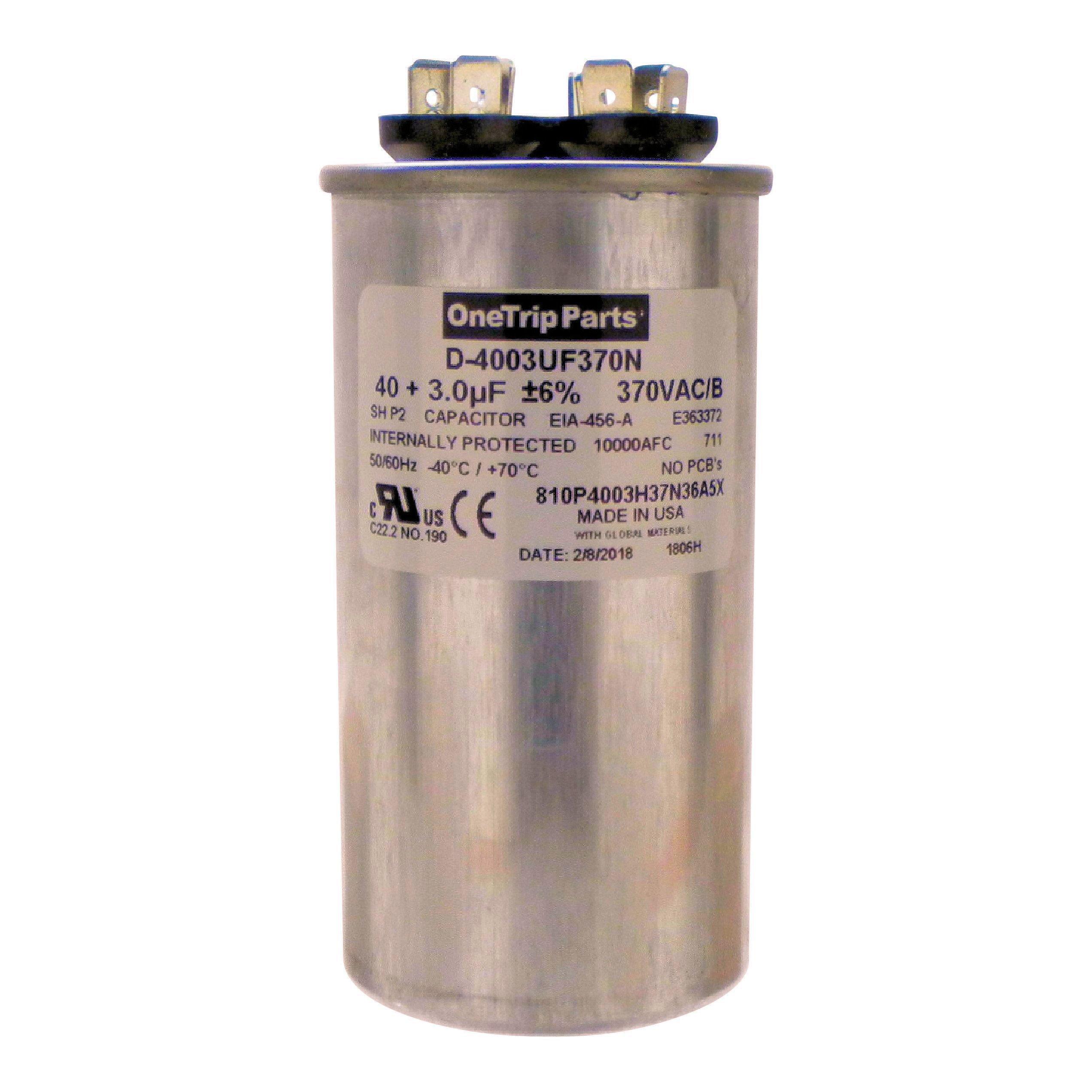 OneTrip Parts USA Run Capacitor 40+3 UF 40/3 MFD 370 VAC 2'' Round