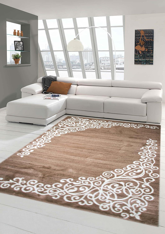 Moderner Teppich Designer Teppich Orientteppich mit Glitzergarn Wohnzimmer Teppich mit Floral Muster Meliert in Braun Beige Creme Größe 200x280 cm