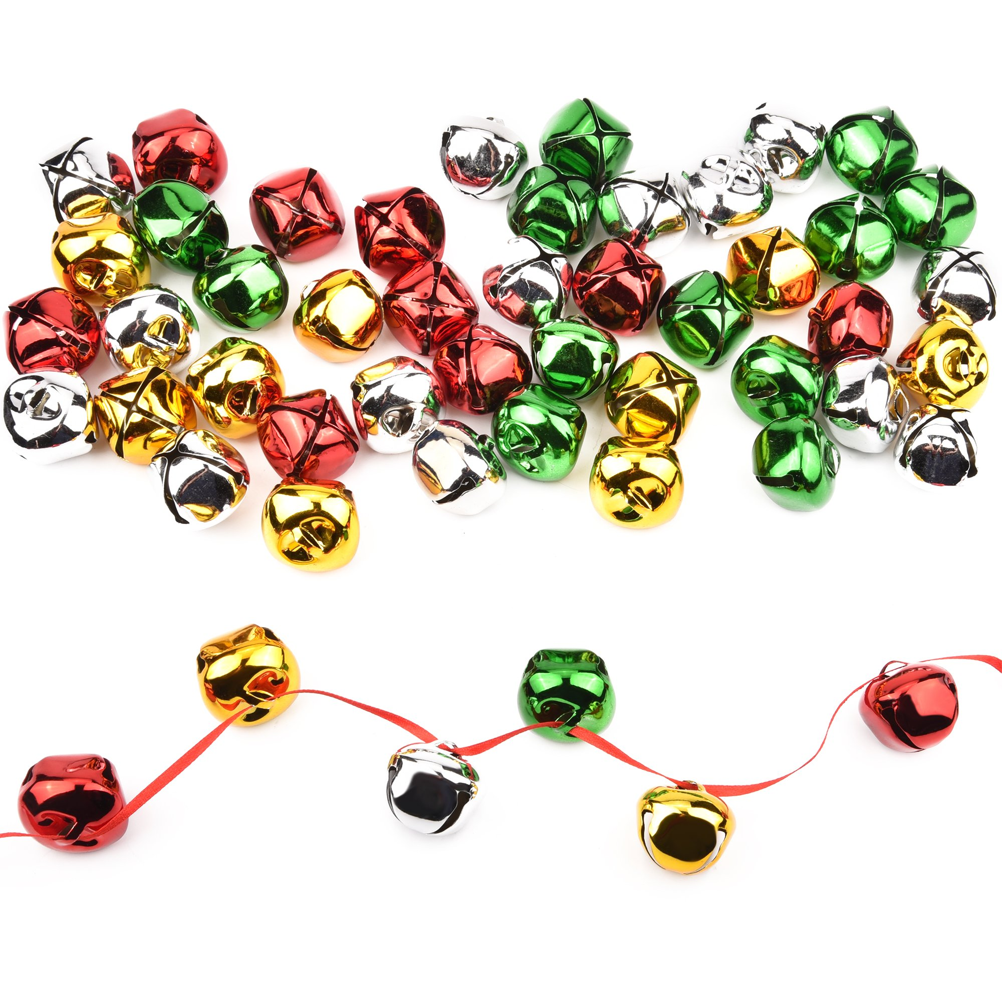 1.18 Inch 50 Pack Sweet Christmas jingle bells craft kits and supplies DIY big jingle bell for your pets and your family(30mm)