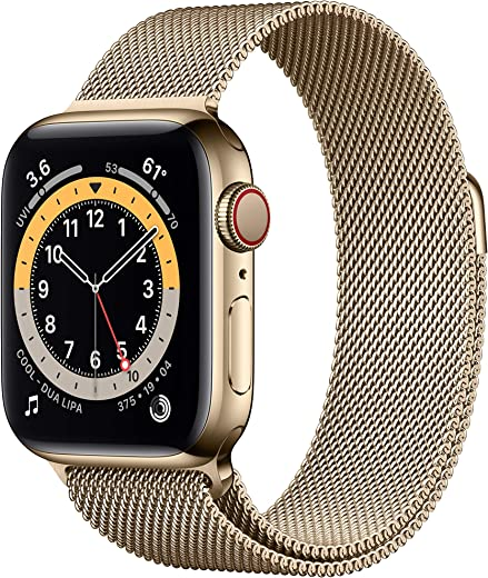 New Apple Watch Series 6 (GPS + Cellular, 40mm) - Gold Stainless Steel Case with Gold Milanese Loop