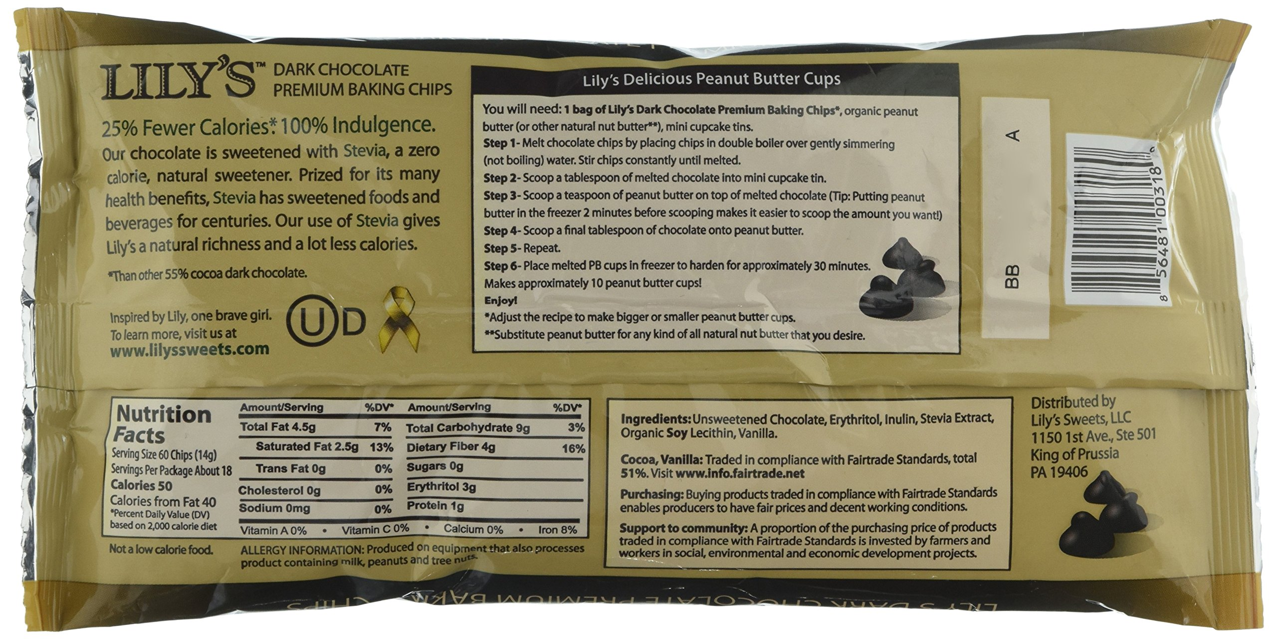 Lily's Chocolate All Natural Premium Baking Chips, Dark Chocolate, 4 Count by Lily's Chocolate (Image #5)