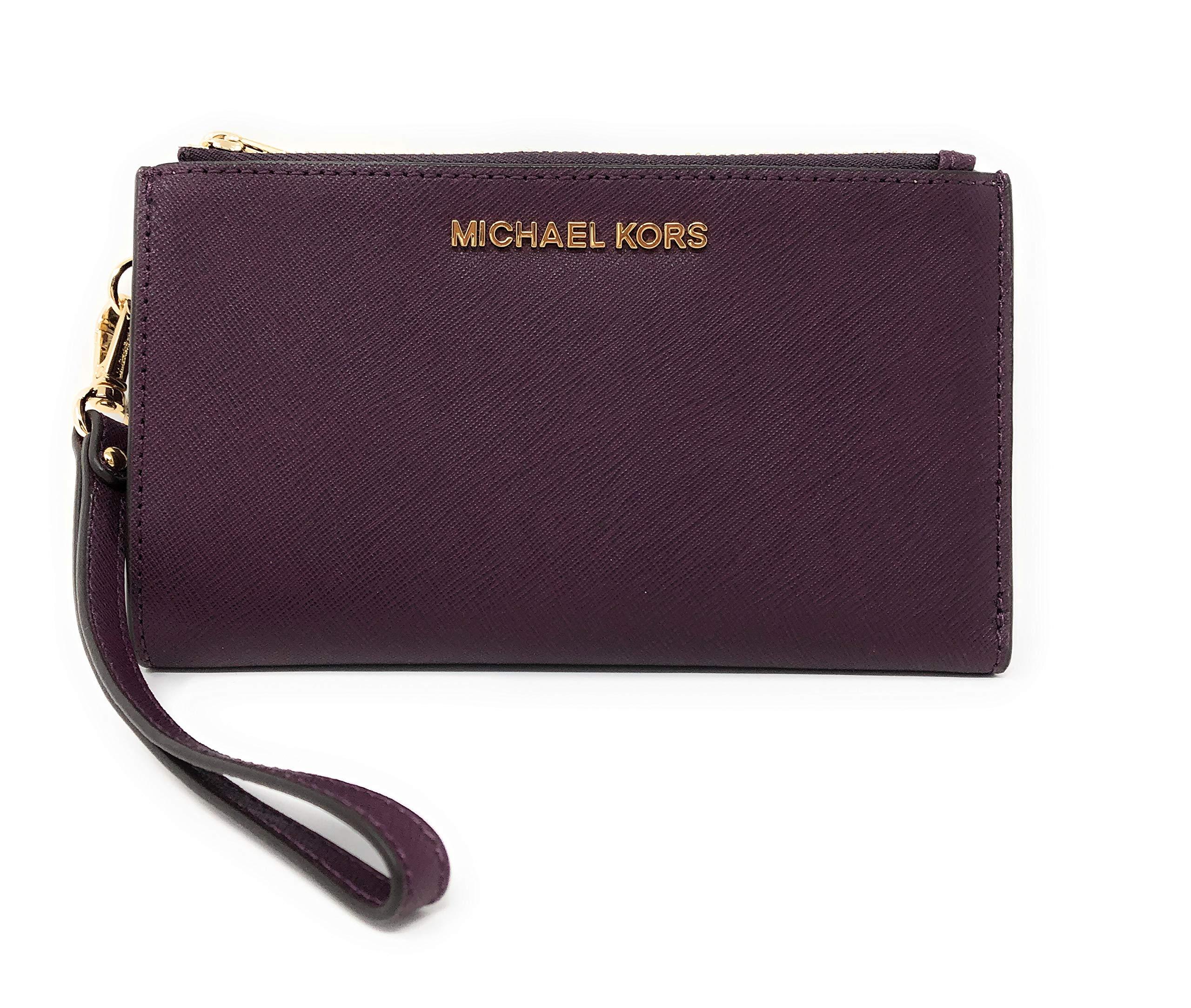 Michael Kors Jet Set Travel Double Zip Saffiano Leather Wristlet Wallet (Damson)