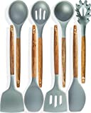 Home Hero Silicone Cooking Utensils Kitchen Utensil Set - 8 Natural Acacia Wooden Silicone Kitchen Utensils Set…