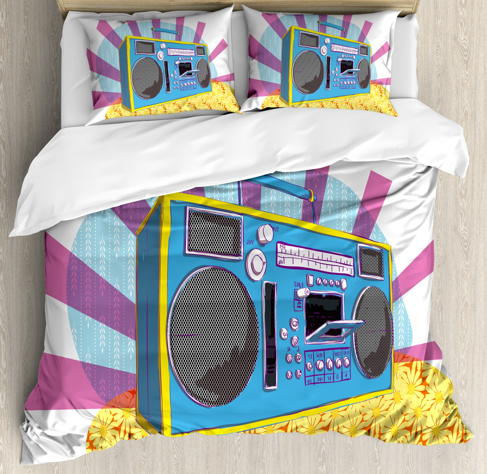 70s Party Decorations Duvet Cover Set Queen Size by Ambesonne, Retro Boom Box in Pop Art Manner Dance Music Colorful Composition, Decorative 3 Piece Bedding Set with 2 Pillow Shams, Multicolor