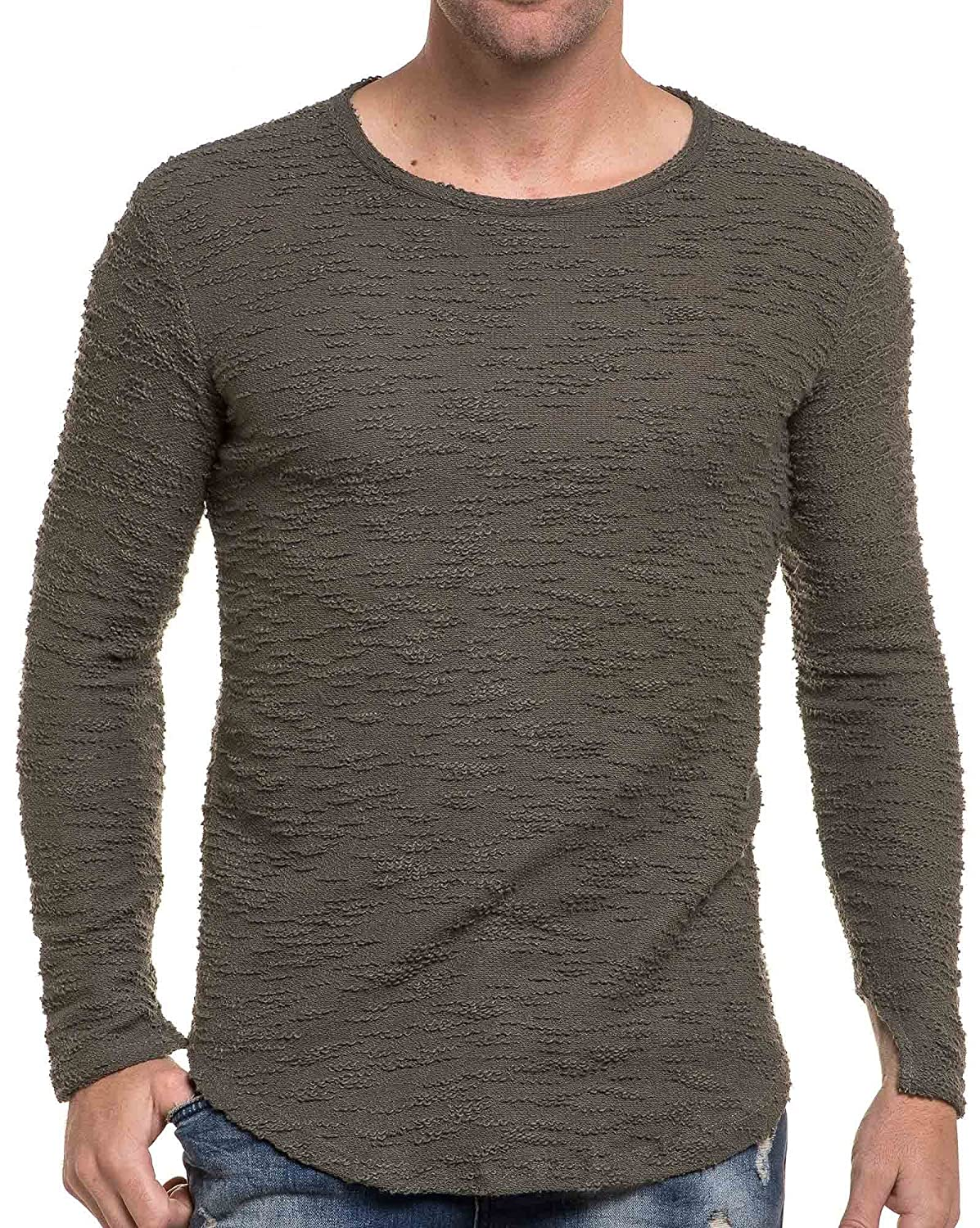 BLZ jeans - stylish men sweater khaki green round neck mesh terrain