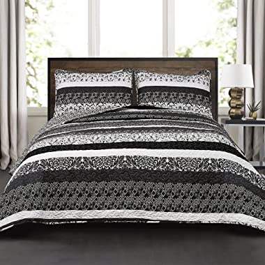 Lush Décor Boho Striped Reversible 3 Piece Quilt Bedding Set - Black and White - Full/Queen Quilt Set