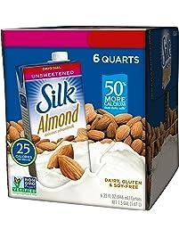 Silk Almond Milk Unsweetened Original 32 oz Shelf Stable, Unsweetened, Unflavored Dairy-Alternative Milk, Organic...