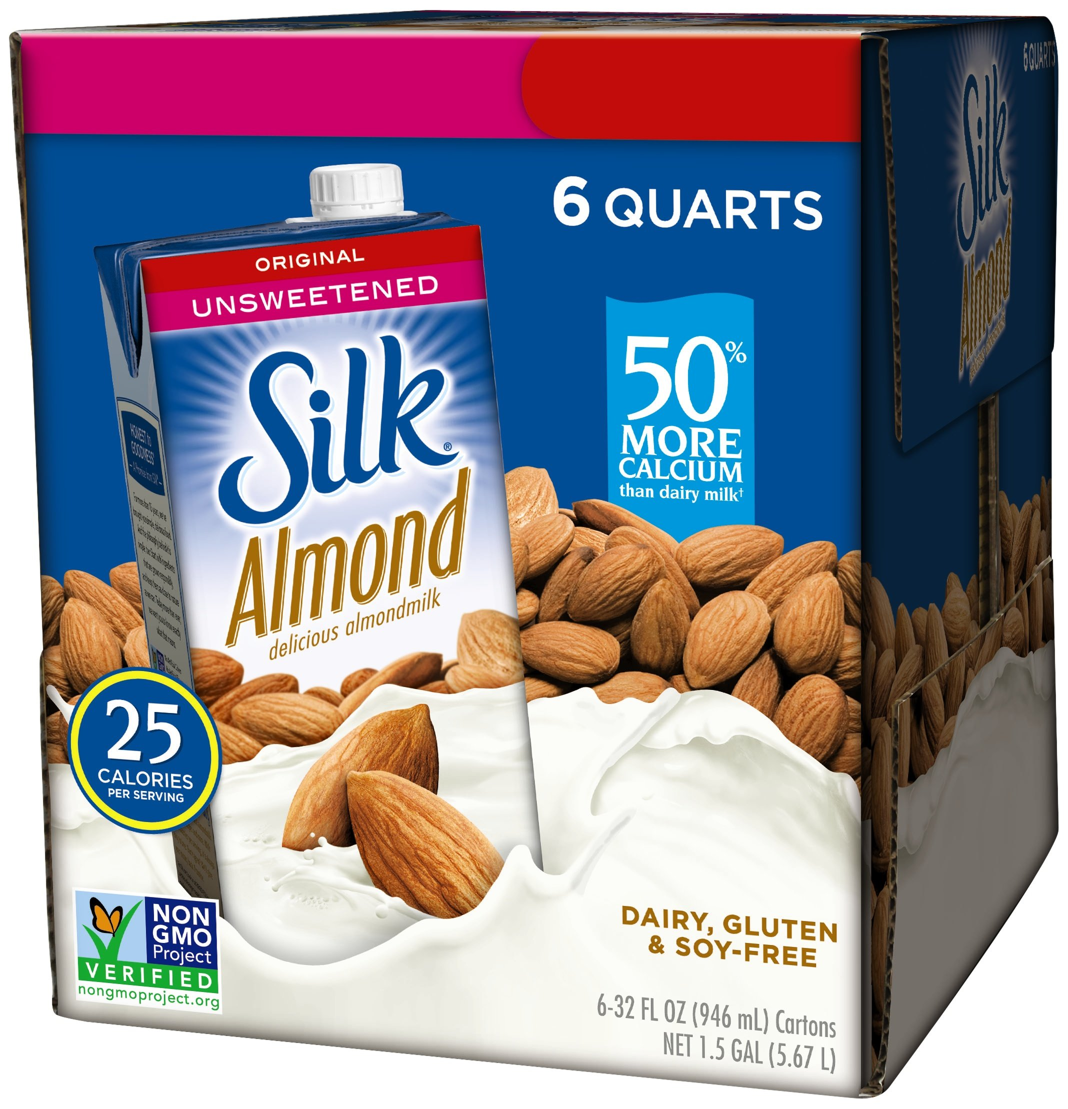 Silk Almond Milk, Unsweetened Original, 32 oz (Pack of 6), Shelf Stable