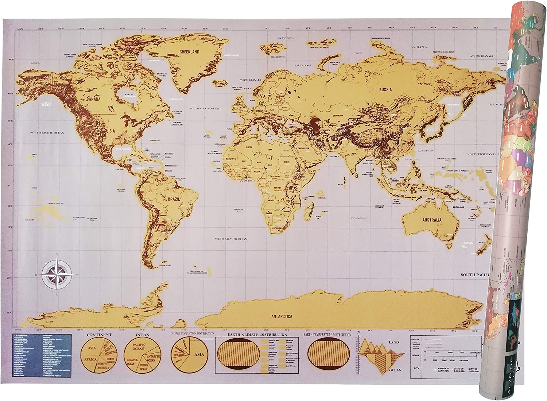 Mapa Mundi Para Rascar - Scratch Map - XXL 82.5x59.4 Cm - Deluxe ...