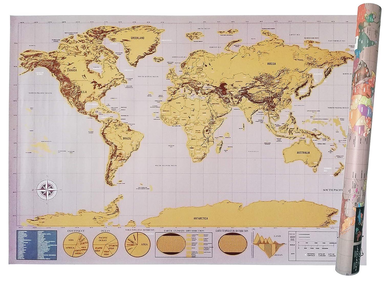 Scratch Map Grau//Gold Weltkarte Zum Rubbeln XXL 82.5x59.4 Cm Deluxe Edition Gold Auf Schwarzem Hintergrund Geographische Karte Physik//Politik Mit Farbigen Nationen