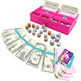 GirlZone Unicorn Money Play Set for Kids – Realistic Dollar Bills, Coins, Credit & Debit Cards & Checkbook.
