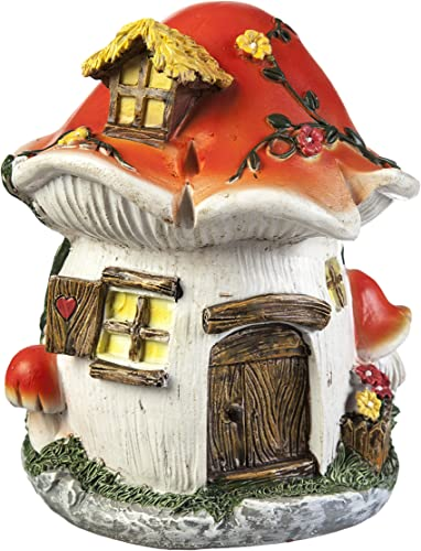 Evergreen Garden New Creative Outdoor-Safe Mini Garden Polystone Fairy Houses, Set of 4-5.5 W x 5.75 D x 6.75 H