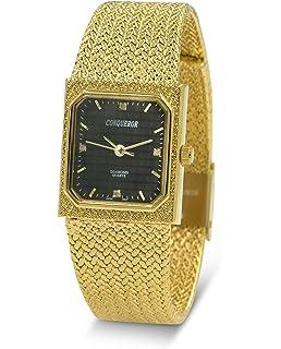 Conqueror Gold-Tone Mesh Bracelet and Diamond Womens Quartz Dress Square Watch