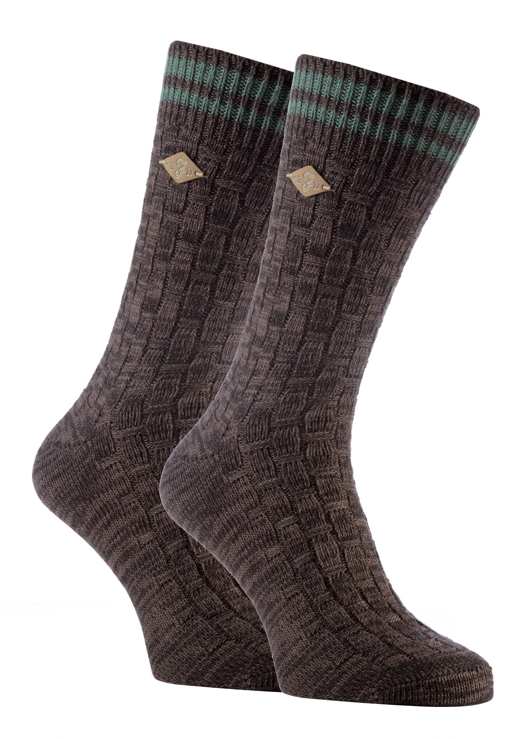 Farah - 2 Pack Mens Thick Cotton Vintage Short Crew Heavy Knit Socks for Boots (7-12 US, 04 Earth Brown)