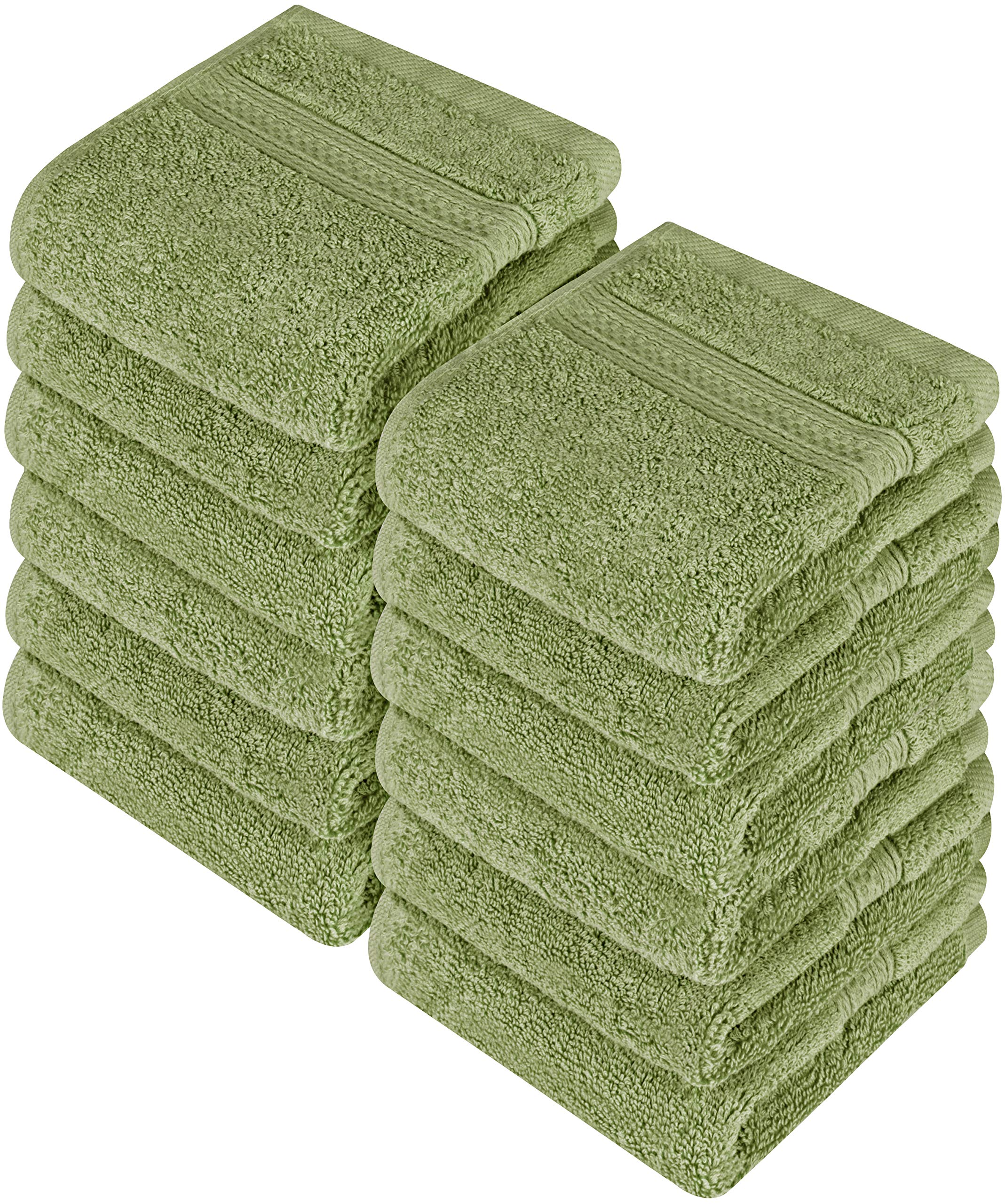 Utopia Towels Premium 252 Pack 700 GSM Cotton Washcloths Bulk– (12 x 12 Inches Face Towels Bulk) Extra Soft Wash Cloths, Sage Green