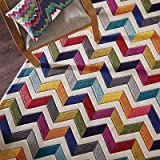 55764eb0b50 Quality Handcarved Geometric Design Rainbow Multi Coloured Rug in Various  sizes Carpet…