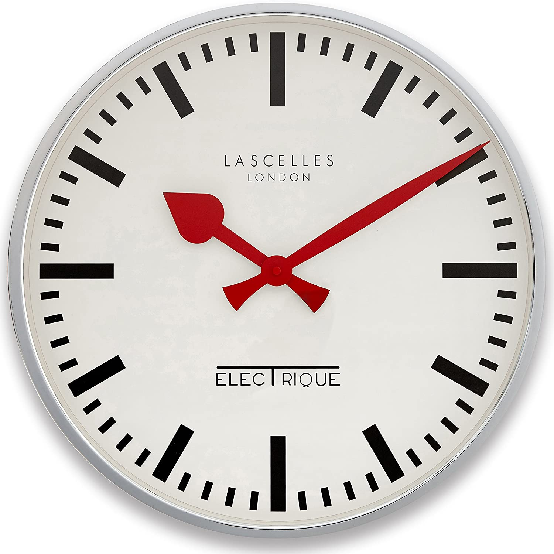 Large deep chrome clock 45cm amazon kitchen home amipublicfo Gallery