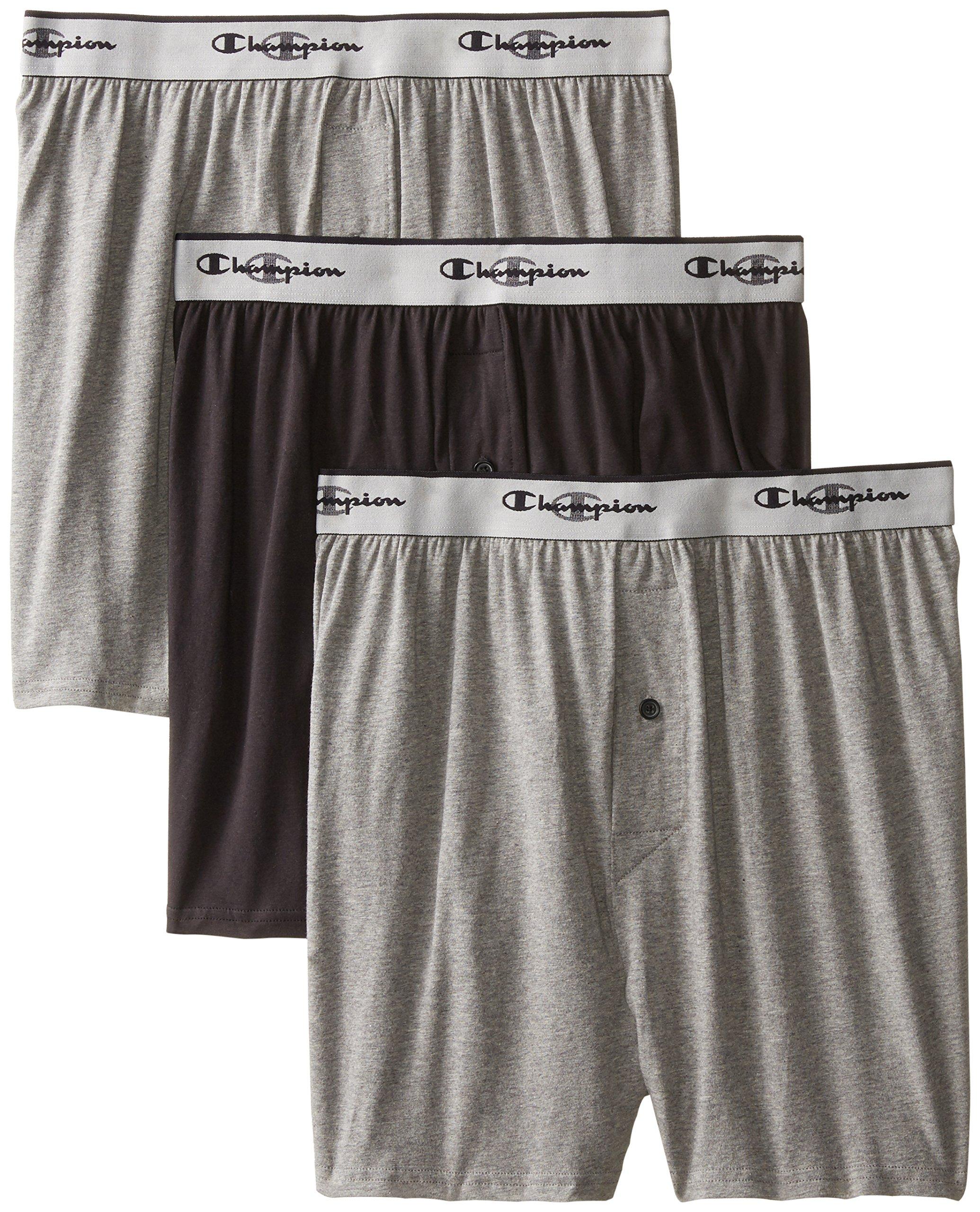 Champion Men's 3-Pack Knit Boxer, Gray/Black, X-Large