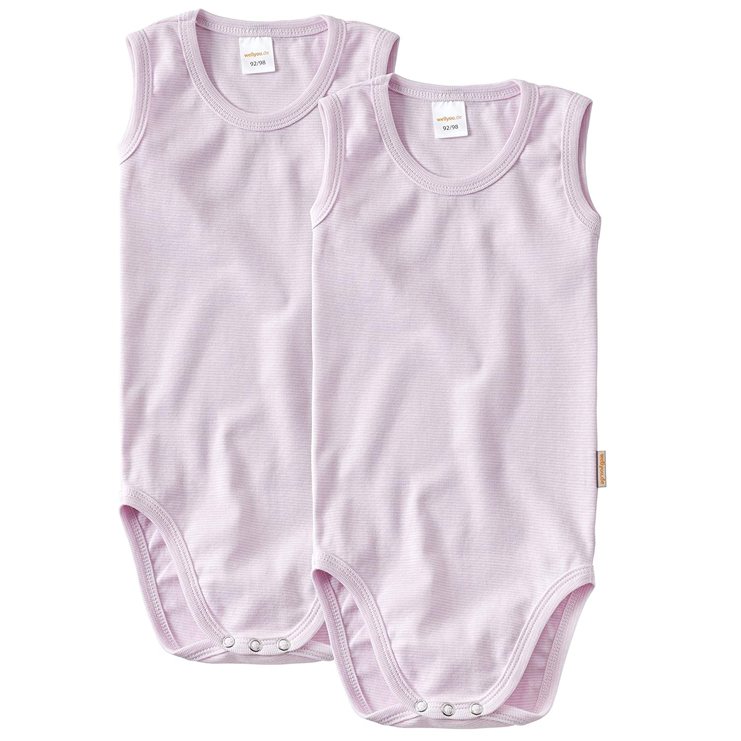 wellyou Baby and Kids Double Pack Babybody Without Arm Girls 100/% Cotton Body Set of 2 in Pink and White Size 128-134