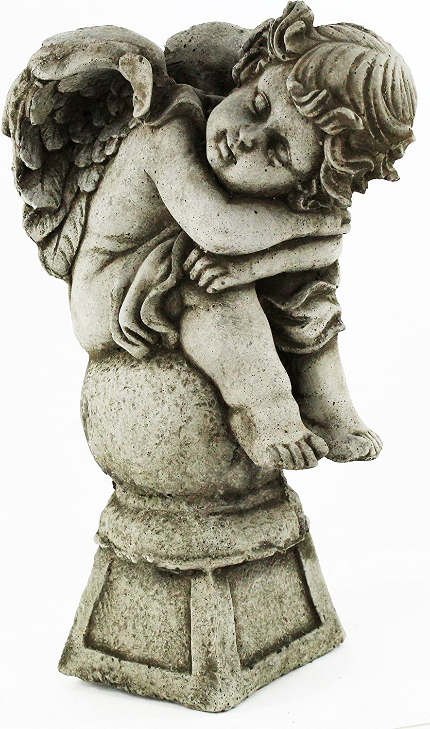 Angel on Pedestal Religious Statue Home and Garden Statues Cement Cherub Figures