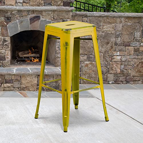 Flash Furniture Commercial Grade 4 Pack 30″ High Backless Distressed Yellow Metal Indoor-Outdoor Barstool