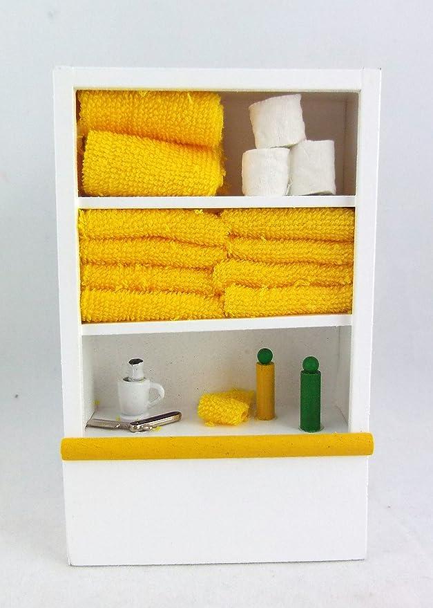 Melody Jane Puppenhaus Miniatur Weiß Badezimmer Regal & Zubehör Lemon Bad
