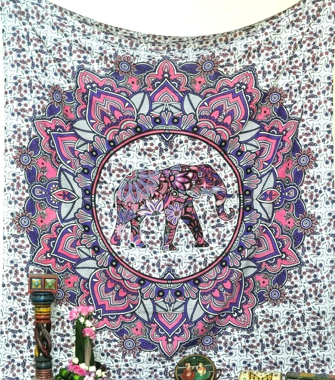 Jaipur Handloom Pink and Purple Elephant Mandala Tapestry Wall Hanging Dorm Decor Large Size Indian Cotton Psychedelic Hippie Flower Tapestry Bohemian Bedspread Bedding Bed Cover Picnic Blanket