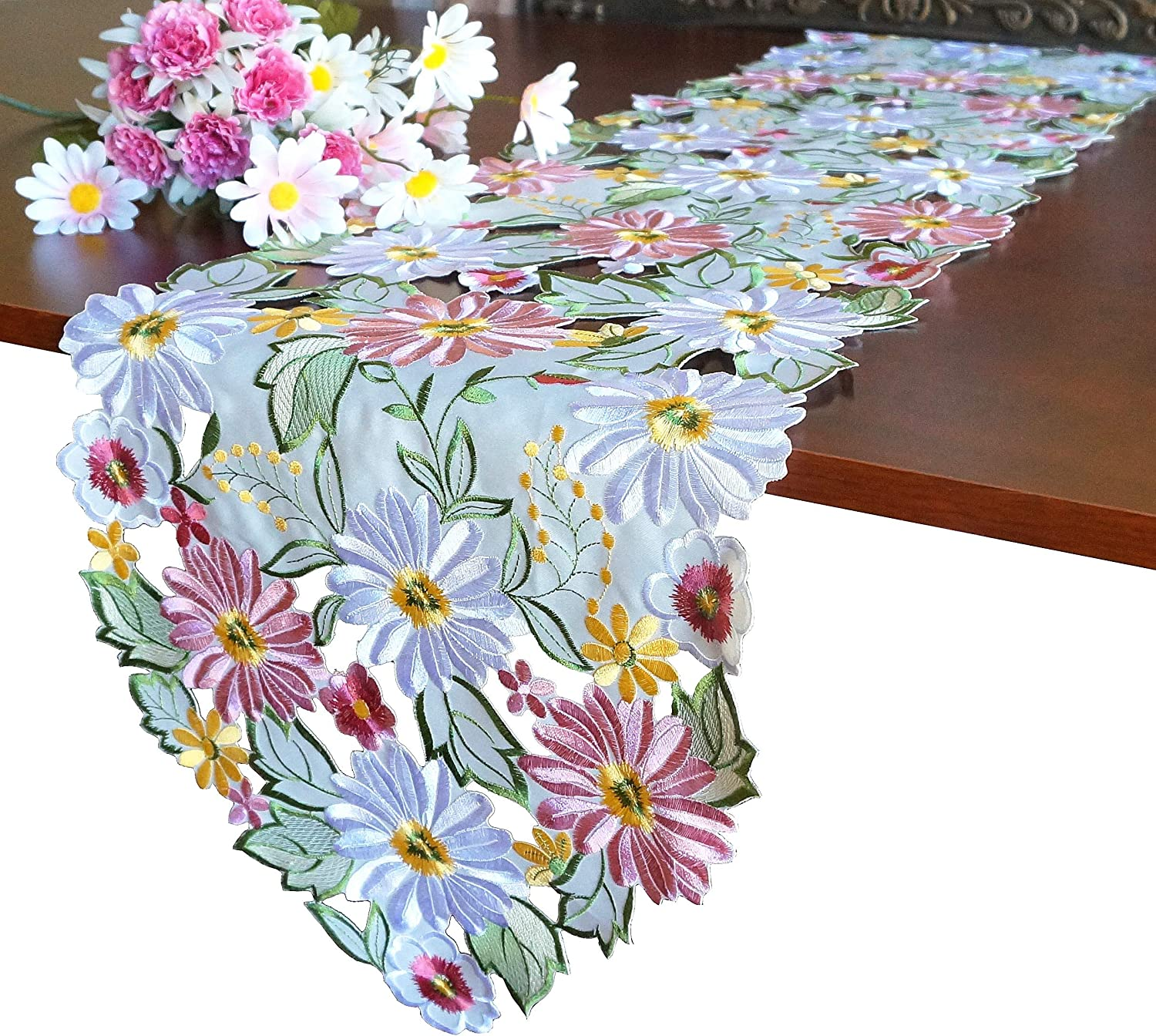 "GRANDDECO Embroidered Flowery Table Runner,Applique Floral Daisy Cutwork Embroidered Table Linen, Home Kitchen Dining Tabletop Decoration, Runner 13""×68"" (Runner 13""×68""(33x172cm), Spring Color): Home & Kitchen"