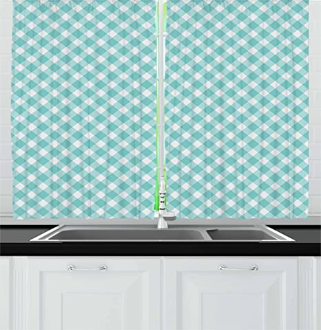 Amazon Com Ambesonne Aqua Kitchen Curtains Retro Vintage Gingham Pop Art Style Lovers Spring Summer Inspired Artwork Window Drapes 2 Panel Set For Cafe Decor 55 X 39 Turquoise White Home