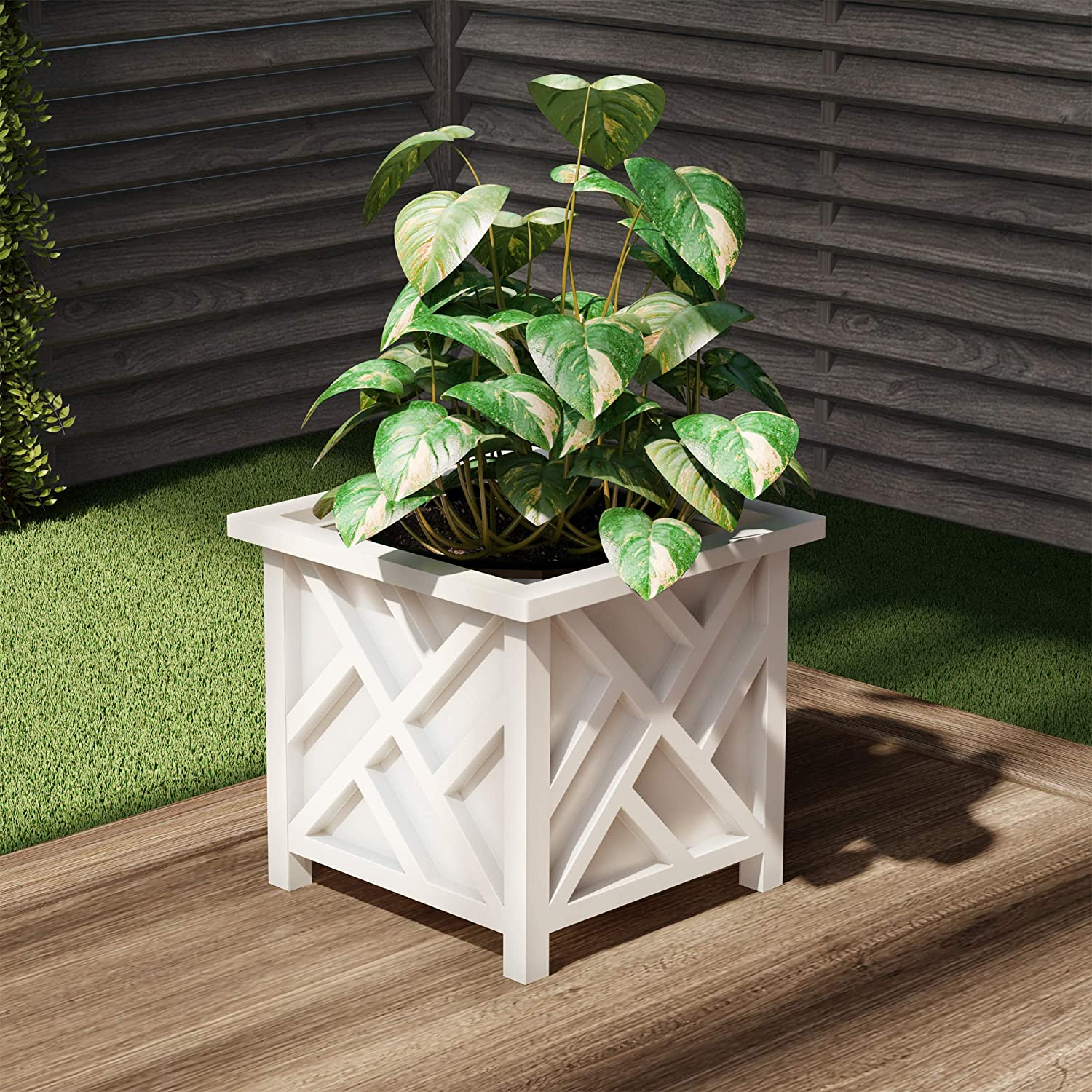 Pure Garden 50-LG5097 Square Planter Box-White Lattice Container for Flowers & Plants, Cream