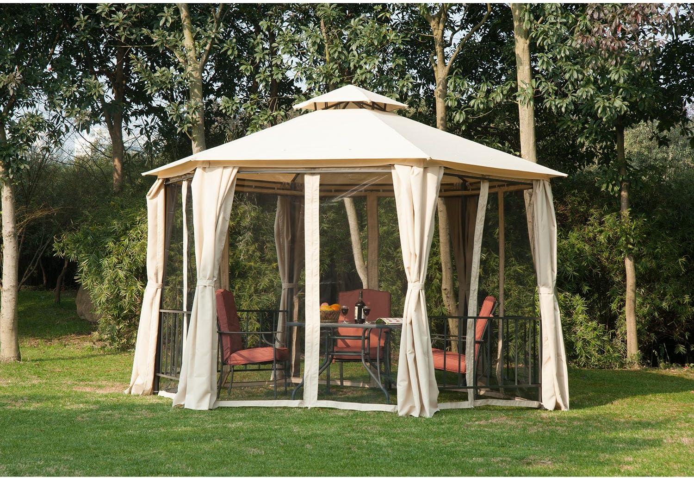 Outsunny - Cenador de jardín hexagonal para exteriores con 2 ...