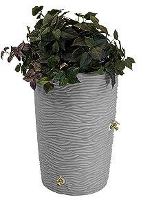 Good Ideas Imp-L50-Lig Impressions Palm Rain Barrel, 50 Gallon, Light Granite