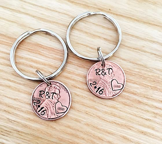 Anniversary gift, Set of 2 Penny keychains, Couples gifts, Husband Wife  Penny Jewelry, 20 year anniversary