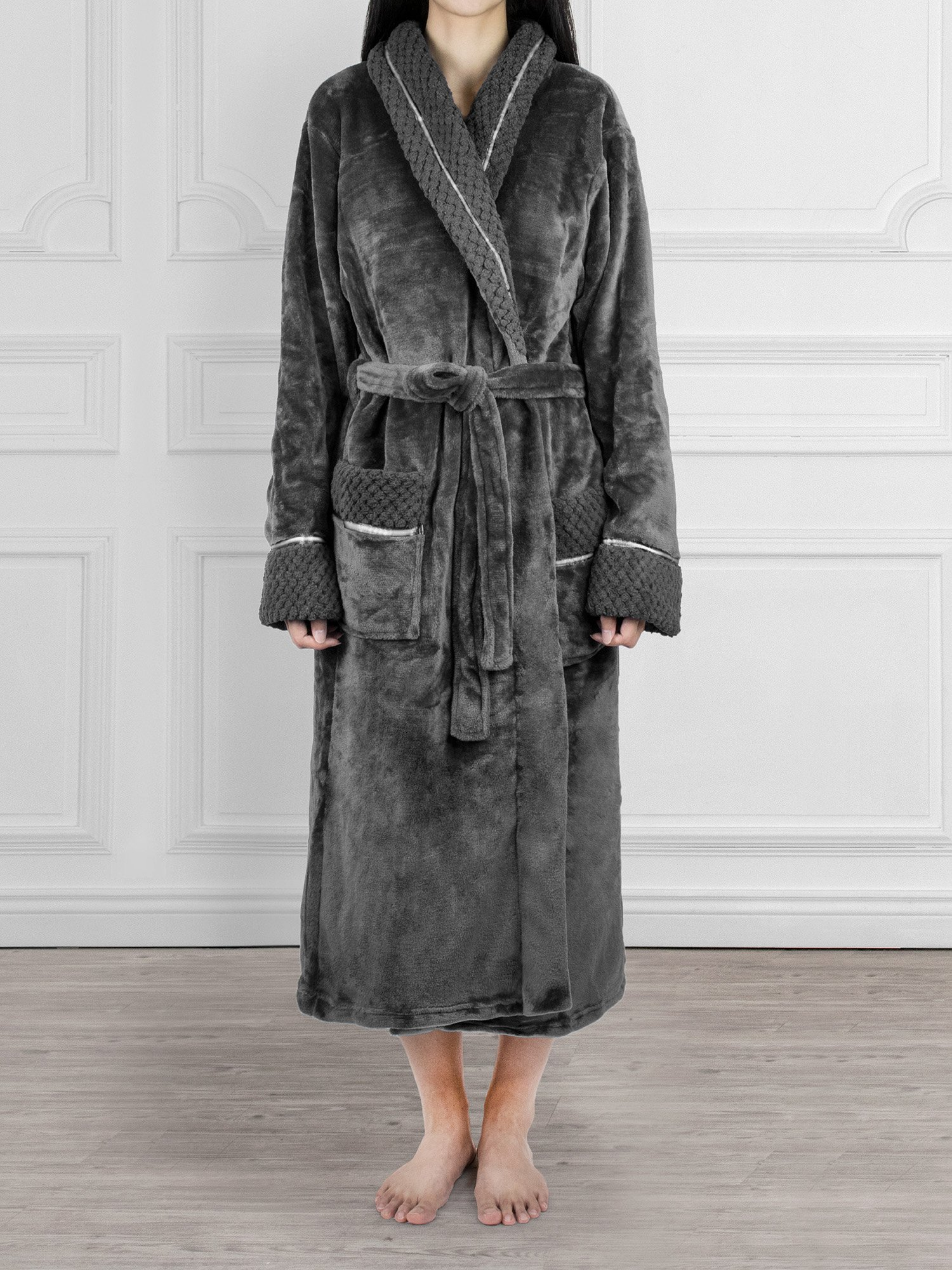 Deluxe Women Fleece Robe with Satin Trim | Luxurious Plush Spa Bathrobe Waffle Design by PAVILIA (Image #3)