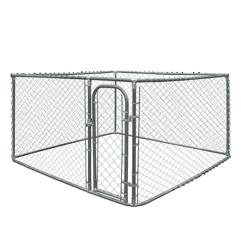 ALEKO DK7X7X6 Pet System DIY Box Kennel Chain Link Dog Kennel Playpen Chicken Coop Hen House 7.5 x 7.5 x 6 Feet